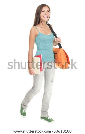 Female student walking in full length. Woman College student in her early 20s walking and smiling. Cutout of young beautiful multiracial chinese / caucasian model isolated on white background.