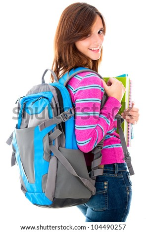Female student with a bag - isolated over white background