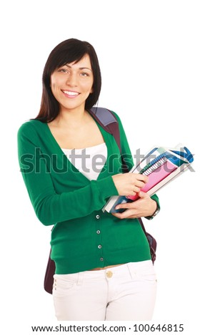 Female student with books , isolated on white background