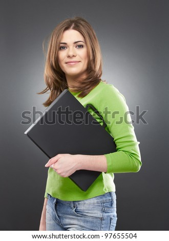 Female student with laptop case isolated on gray background