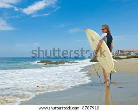 Female surfer - stock photo