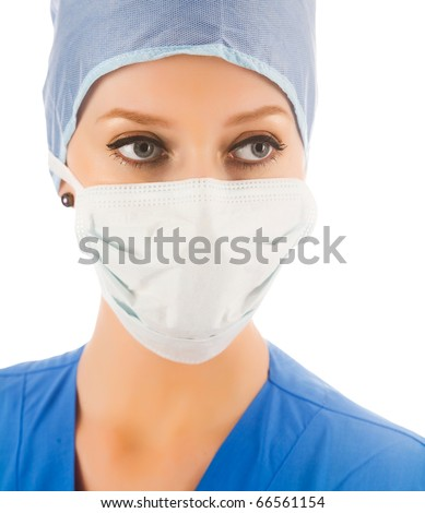 female surgeon with mask isolated on white background