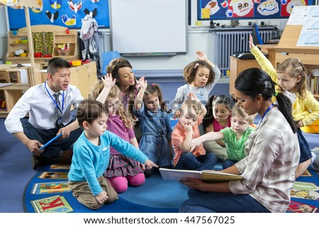 Female Teacher Giving A Lesson To Nursery Students They Are Sitting On The Floor And
