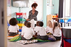 Female Teacher Reading Story To Group Of Elementary Pupils Wearing Uniform In School Classroom
