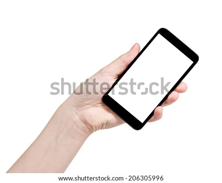 female teen hand holding generic smartphone, isolated on white #206305996