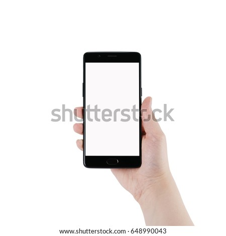 female teen hand holding smartphone with blank screen isolated on white background #648990043