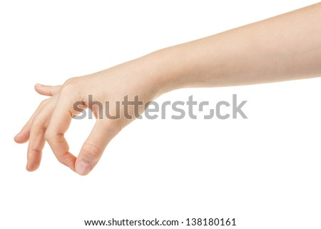 female teen hand holding something, isolated on white