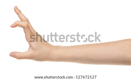 female teen hand measuring something, isolated on white