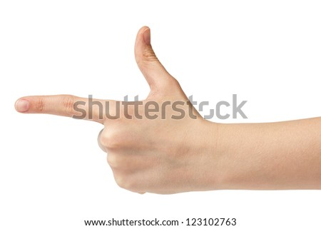 female teen hand show direction, isolated on white