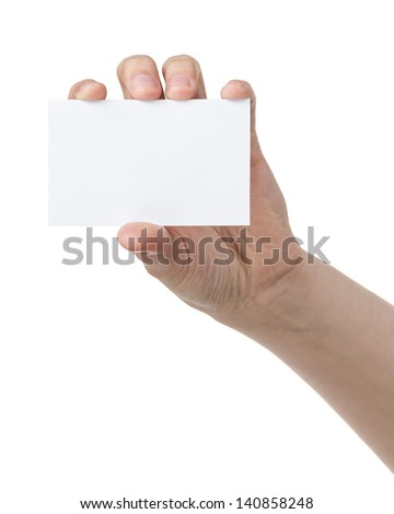 female teen hand showing blank paper card, isolated on white