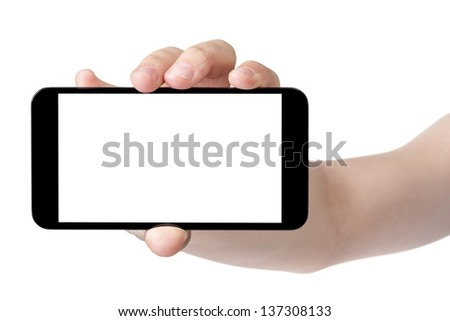 female teen hand showing generic touch device, isolated in white with white screen