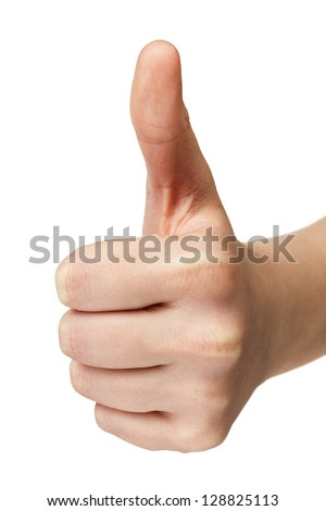 female teen hand shows thumbs up, isolated on white
