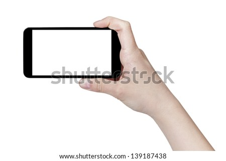 female teen hand taking photo with generic smartphone, isolated on white