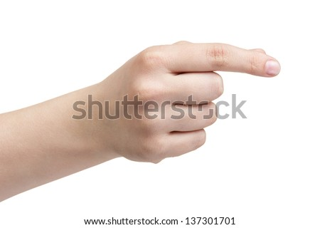 female teen hand to hold paper card, isolated on white
