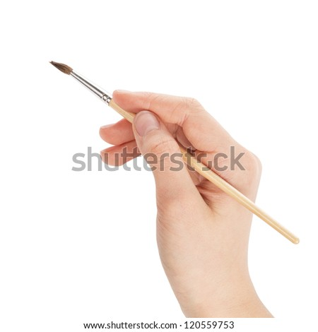 female teen hand with a brush on white background