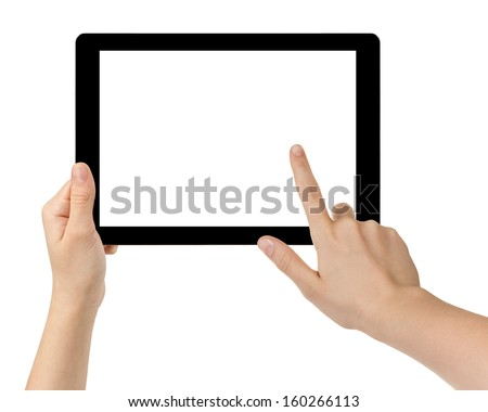 female teen hands using tablet pc with white screen, isolated #160266113