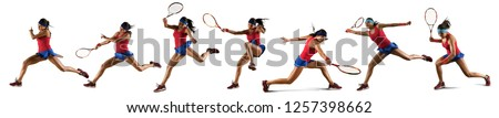Female tennis player in action during game isolated on white background