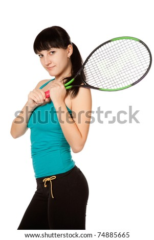 female tennis player isolated on white background