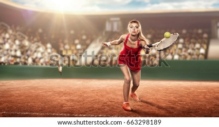female tennis player with a racket on a tennis court in action