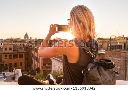 female tourist with a...