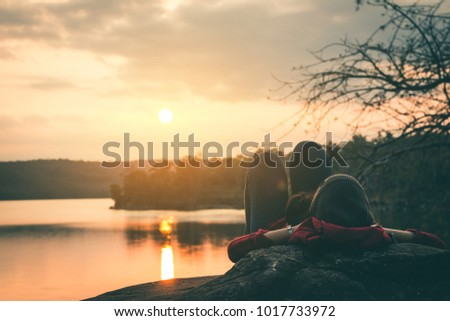 Female tourists in beautiful nature in tranquil scene in holiday.