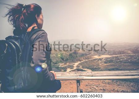 Female travelers travel nature mountain - Shutterstock ID 602260403