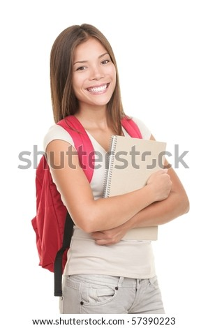 Female university student isolated on white background. Young mixed asian / caucasian woman model.