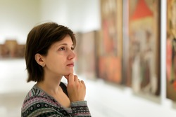 Female visitor in art gallery