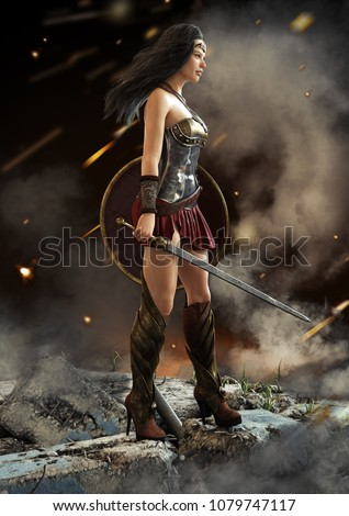 Stock Photo Female warrior looking on after a battle with sword and shield in hand . Fantasy 3d rendering.