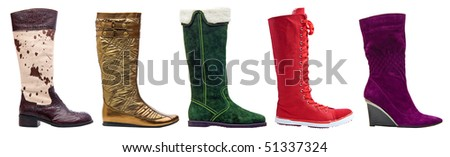 Female winter high boots isolated on white background. With path