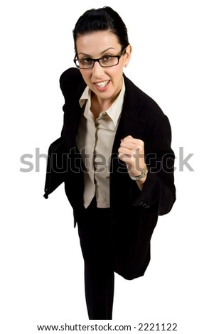 Female with black briefcase running