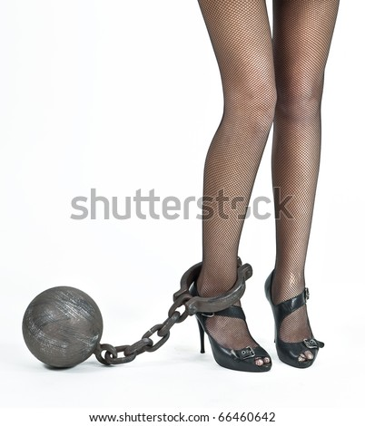female with black net stockings and a prisoner's iron ball