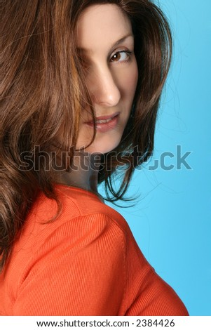 blonde hair highlights on brown hair. Female with rown hair