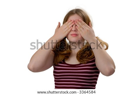 Female with her hands covering her eyes, See No Evil
