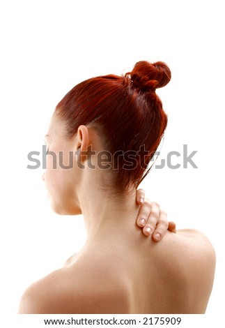 female with neck pain holding nape isolated