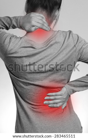 Female with pain back pain and neck pain