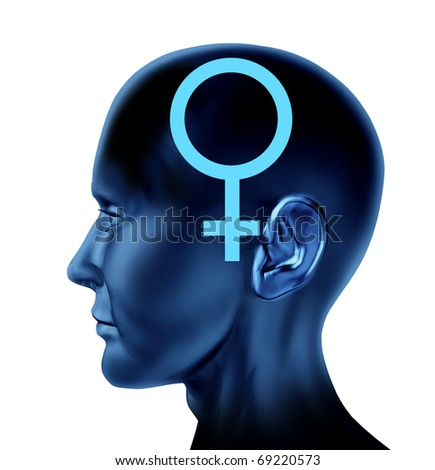 female woman symbol head Brain mind idea intelligence isolated