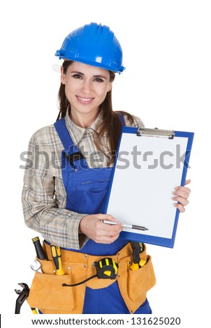 Female Worker Showing Blank Clipboard On White Background