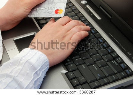 Female working in bank - stock photo