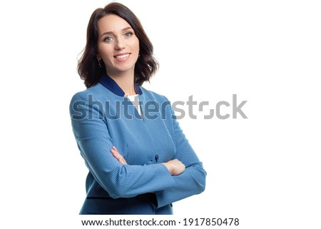 Females in Business. Natural Portrait of Young Confident Caucasian Business Woman in Blue Checked Suit Posing Against White. Horizontal Image Composition