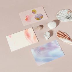 Feminine business cards handmade experimental art with design space