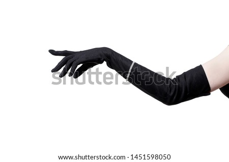 Feminine hand in a black glove on a white background.