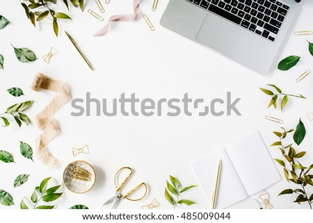 Detail · Feminine Home Office Workspace With Laptop, Notebook And  Accessories. Flat Lay, Top View Part 93