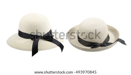 Feminine women's straw hat with the black ribbon,Hat isolated on white