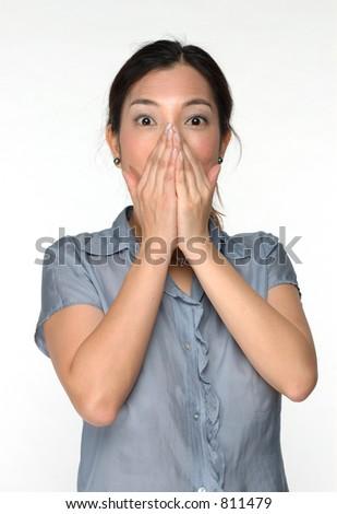 femme asiatique avec l'expression de surprise - stock photo