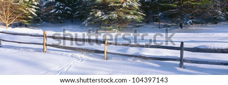 Fence and snow in winter, Vermont