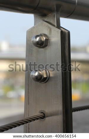 Fence focused on rusty screw-nut Stock fotó ©