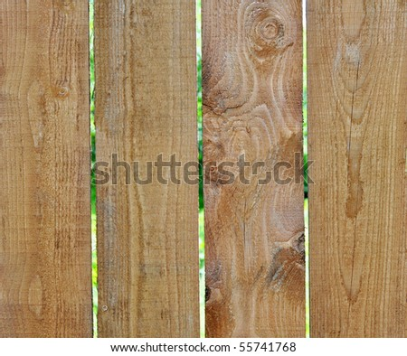 Fence from wooden boards on a summer residence in the vicinities of Moscow, Russia