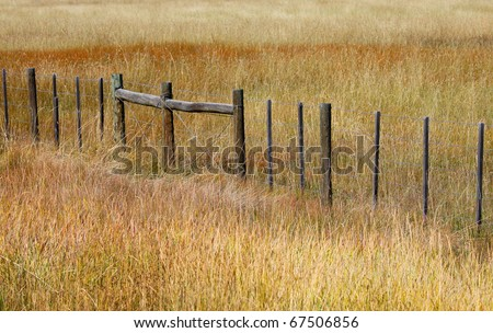 Fence in the middle of prairie landscape