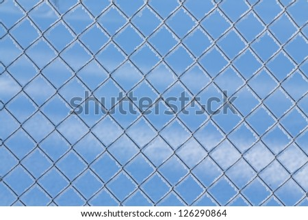 Fence net with hoarfrost  on a background of blue sky